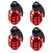 4 Pcs Red Grenade Design Metal Bike Car Motorcycle Tyre Air Valve Dust Caps Chic