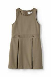 Lands' End Girls Uniform Solid Jumper Khaki 5 NEW 068175