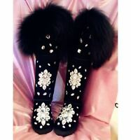 Womens New  Winter Thicken Warm Fur Trim Snow Boots Rhinestone Shoes