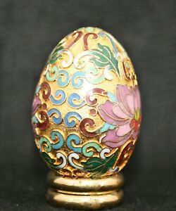 Exquisite Vintage Chinese Brass Enamel Beijing Cloisonne Decorative Egg w/Stand