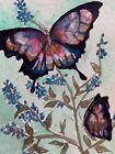 Original watercolor ACEO Handmade Blue Butterflies