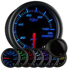New! GlowShift 52mm 7 Color LED Electronic Oil Pressure PSI Gauge w Smoked Lens