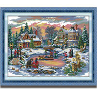 Counted Cross Stitch Kit Snowscape Landscape Christmas Pattern Printed 14CT 11CT