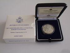 2010 Robert Schumann 10 euros plata pp san marino Silver fondo specchio AG