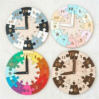Child's Wooden Teach Time Clock Children's Learning numbers Puzzle Teaching Toy