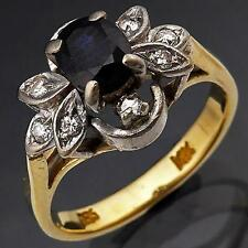 70s Vintage 14k Solid Yellow GOLD SAPPHIRE DIAMOND HIGH CLUSTER RING Sml Sz J1/2