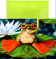 Funny Happy Flippin' Birthday Frog In Goggles Flippers Greeting Card By Avanti