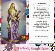 St. Agatha with Prayer to Saint Agatha  - Paperstock Holy Card