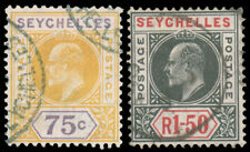 SEYCHELLES 1906 75c YELLOW PURPLE AND 1.50r BLACK ROSE USED #60-61 d.s $140.00