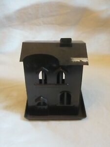 Rustic Farmhouse Primitive Country Brown Metal House Shaped Candle Holder