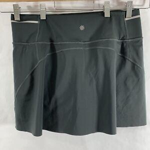 Athleta M Medium Sonic Skort Skirt Dark Gray Reflective Waist Athletic