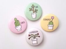Succulent Cactus Inspired Pins Button Badges Scientific Classified Names 4-Pack