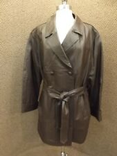 NEW NWT Classy Womens Plus Sz 20W Brown Leather Belted Trench Coat Quilt Lining