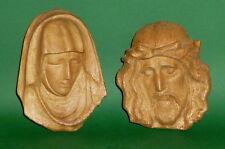 2 geschnitzte Holzfiguren Heiligenfiguren Maria Jesus Büsten Kinder carved wood