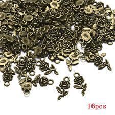 Wholesale Lots 16pcs Tibet silver Rose Flower Charm Pendant beads Jewelry Making