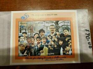 GUYANA #3027 MNH UNICEF 1996 SOUVENIR SHEET ERROR CV$70.00