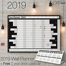 2019 Wall Planner Year Planner Calender Wall Chart✔BLACK +FREE Desktop Calendar