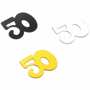 7oz 50th Birthday Number Confetti for Table, Silver Gold Black, for Anniversiary