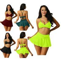 Women''s Two Piece Bikini Sets Swimsuit Sexy V Plunge Bra Ruffle A Skirt Knicker