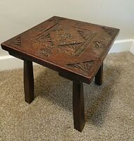 Antique Hand Carved Floral Design Square Top Oak Stool with Four Legs (Seating)