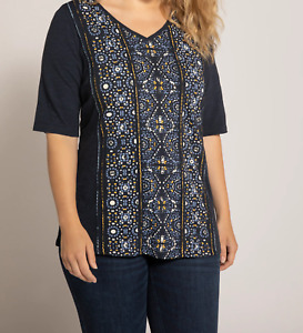 Ulla Popken Mosaic Print Embroidery Accent V-Neck Tee Top RRP £38.95