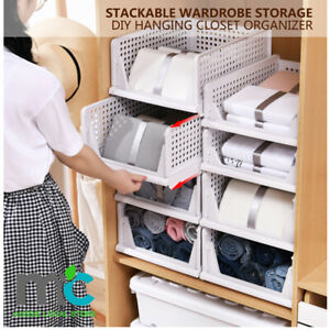 2Pcs Stackable Wardrobe Storage DIY Hanging Closet Organizer Clothes Shelf Rack