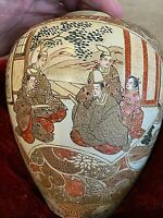 "Antique Satsuma Jar Extremely well painted 4 scenes. 8,5""x6.5""dia. Wood lid"