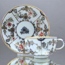 Meissen um 1750: Tasse mit Strohmuster und Hausmaler Blumen Ferner Werkstatt cup