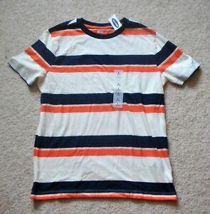 Old Navy Boys' Blue & Orange Striped Short Sleeves T-Shirt - Size 10-12