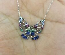 925 Sterling Silver Blue Sapphire & Multi Gem Rainbow Butterfly Pendant Necklace