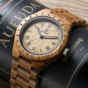 UWOOD Mens Wooden Watch Classy Watch Cherry Wood Watch for Men Christmas Gift