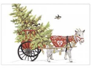 Flour Sack Kitchen Dish Towel Holiday Goat Cart Mary Lake - Thompson New