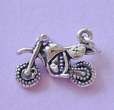 Dirt Bike, Motocross Trail Bike Motorbike Charm Pendant STERLING SILVER