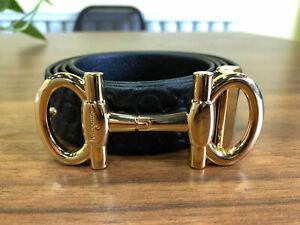 New SALVATORE FERRAGAMO Men's Black Leather Belt