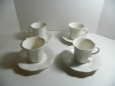 SET OF 4 MIKASA ALLURA DH 900 JAPAN WHITE CUP & SAUCER SETS