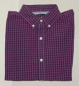 BANANA REPUBLIC Men's Slim Fit Purple Black Check L/S Button Down Shirt Large