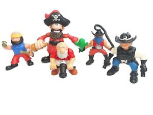 Vintage Fisher Price GREAT ADVENTURES Pirates & Cowboy Figures 1990's Lot Of 5