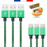CABLE POUR IPHONE 7 6 5 PLUS IPAD IPOD CHARGEUR USB METAL RENFORCÉ VERT 1M 2M 3M