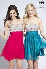 Jovani Stunning Embellished Sleeveless Chiffon Short Prom Dress Sz 14 NWT