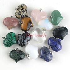 Different Rose Quartz Crystals Gemstone Lover Heart Shape Stone Pendant Jewelry