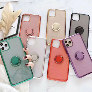 For iPhone 12 Pro Max 11 XR XS X 8 7 Bling Magnetic Ring Holder Soft Case Cover