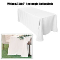 """Polyester Tablecloth Cover Wedding Event Party Dining Table Cloth White 60x102"""""""