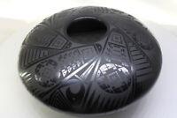 Mata Ortiz Black Shiny Glaze Paquime Style Flattened Round Handmade See Video