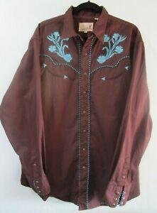 Vintage Roper Fancy Western Cowboy Snap Dark Brown Turquoise Embroidery 2XL EUC