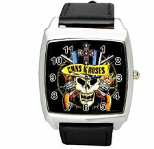 guns n roses gunsnroses BLACK LEATHER MUSIC KING LEGEND SQUARE CD STEEL WATCH UK