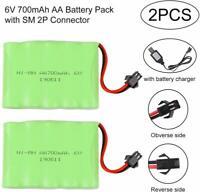 2PCS Battery 6V 700mAh Ni-Mh Batteries SM 2P Plug for Remote Control Rc Cars