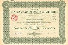 Societe des Mines de Saint-Sebastien d` Aigrefeuille SA, accion, Paris, 1926