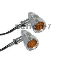 Chrome Amber 20 LED Turn Signals Tail Running Light for Harley Chopper  Cruiser