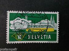 SUISSE SCHWEIZ, 1953, timbre 537, CAR POSTES, oblitéré, VF STAMP, GRISON HIVER