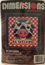New Dimensions Needlepoint Kit NO SMOOking COW #7152 Country Craft Needle Point